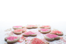 sprinkles on heart cookies