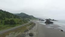 A highway along the ocean shore.
