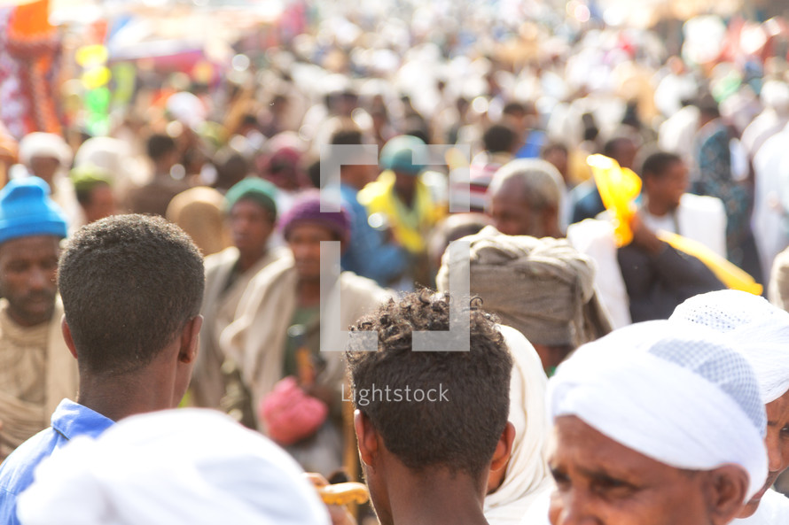 crowds in a market at a celebration in Ethiopia