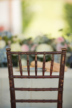 chair at a table at a wedding reception
