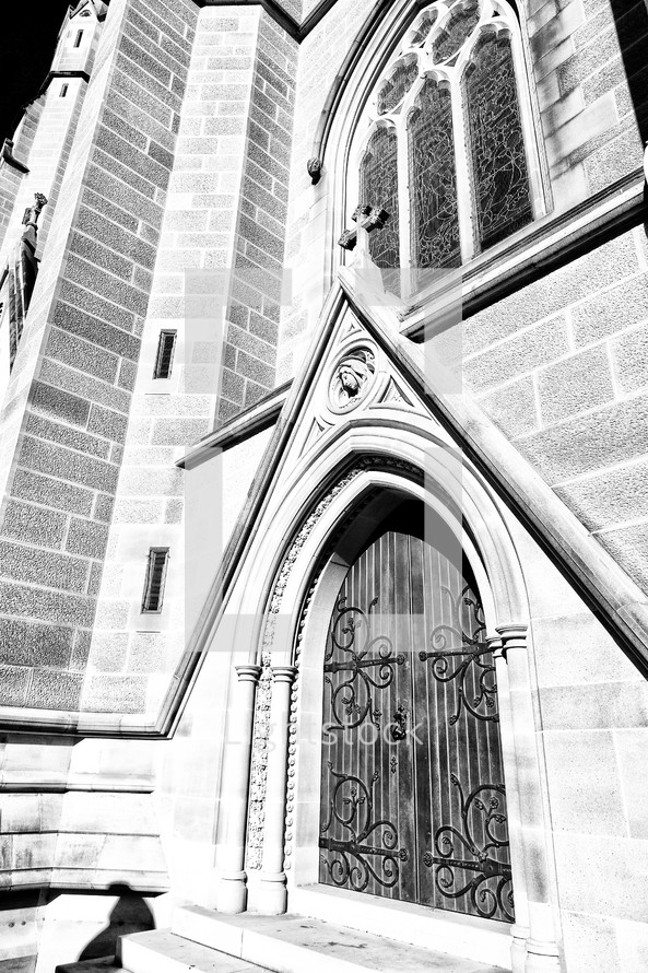 entrance to an old cathedral