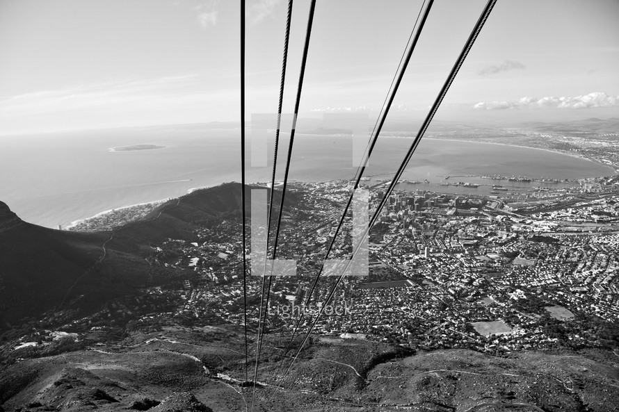 cables extending from a mountaintop in South Africa