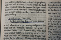 An underlined Bible scripture regarding thanks and love.