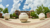 baseball sculptures at Blue Bell Stadium