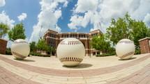 baseball sculptures at Blue Bell Stadium