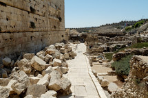 First century street with fallen stones.