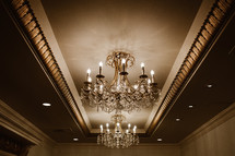 chandeliers on a ballroom ceiling