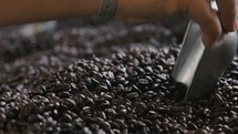 scooped coffee beans