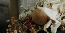 pumpkins and flower arrangement