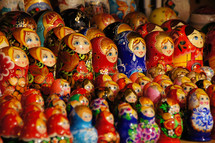 Russian dolls at outside market near Red Square Moscow