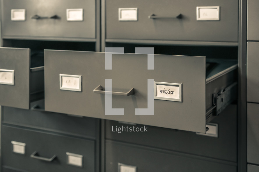 open filing cabinet drawers