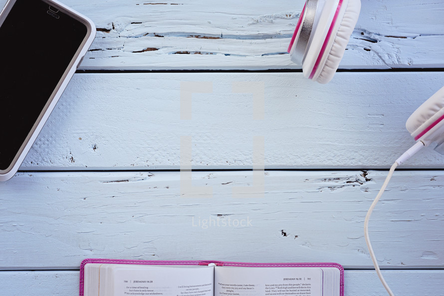 iPhone, headphones, pink Bible, Bible, pages, border, blog, blue wood boards, wood boards