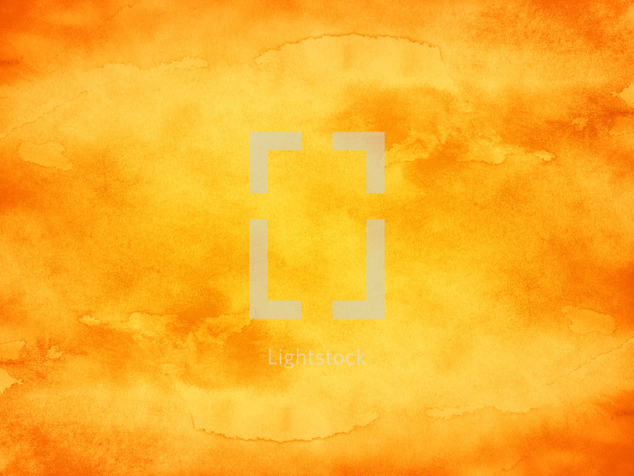 Orange watercolor background with texture color watercolour paint and paper. The abstract empty aquarelle surface of square format with effect of grungefor your text or collage. Blank design template is drawn in handmade technique. Use it in for your design projects.