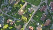 aerial view over a neighborhood