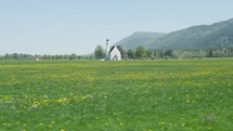 white church and poppy fields in Germany