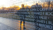 Names on the Vietnam War Memorial - editorial use only
