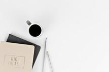 Big Ideas - notebook, pen, and coffee mug