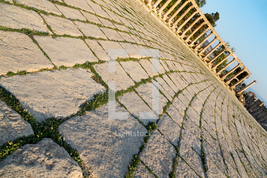 pavers at antique archeological site classical heritage