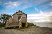 Small wooden naturalist shack on the shore of Assateague Island, Maryland