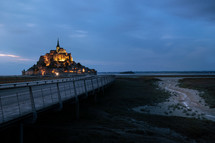 glowing castle in Normandie at night