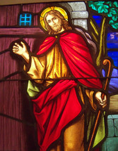 Jesus at the door stained glass window