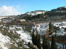 Mount of Olives covered with snow.