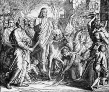 Jesus enters Jerusalem on Palm Sunday, Matthew 21: 8-9