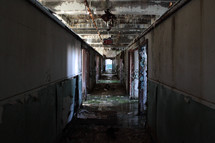 Hallway of a old, dirty, run down building