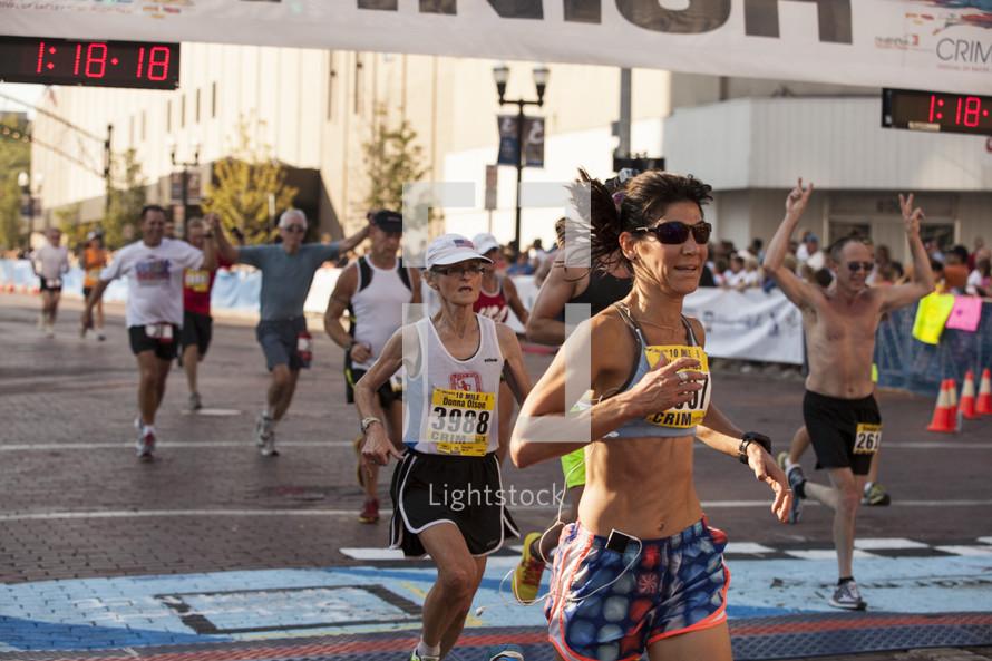 running in a marathon