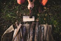 a man chopping firewood