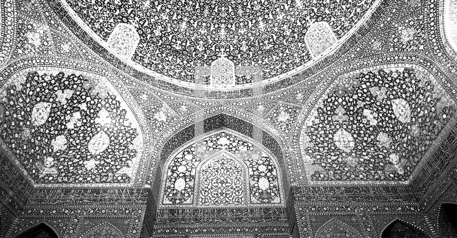ceiling of a dome in Iran black and white