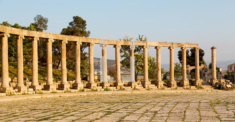 columns in Jordan ruins site