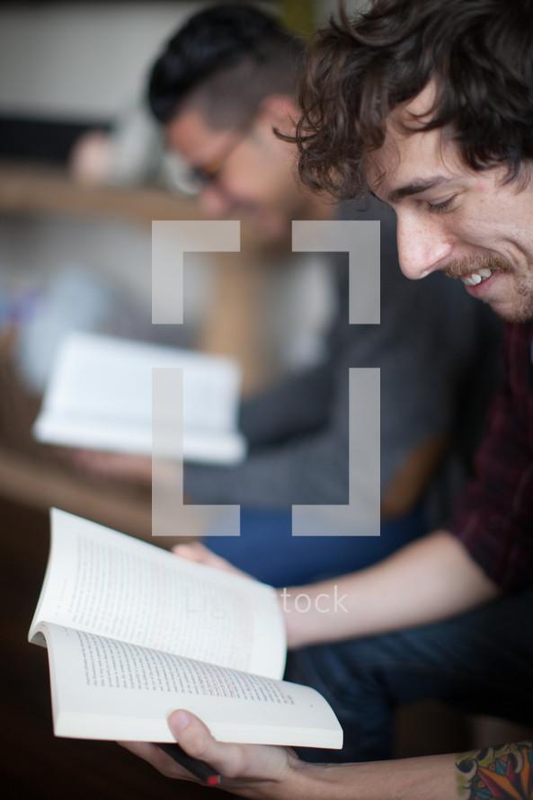 men reading at a Bible study