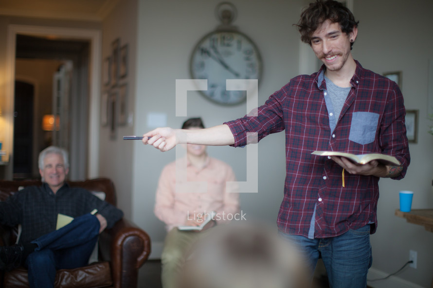 man leading a discussion at a Bible study