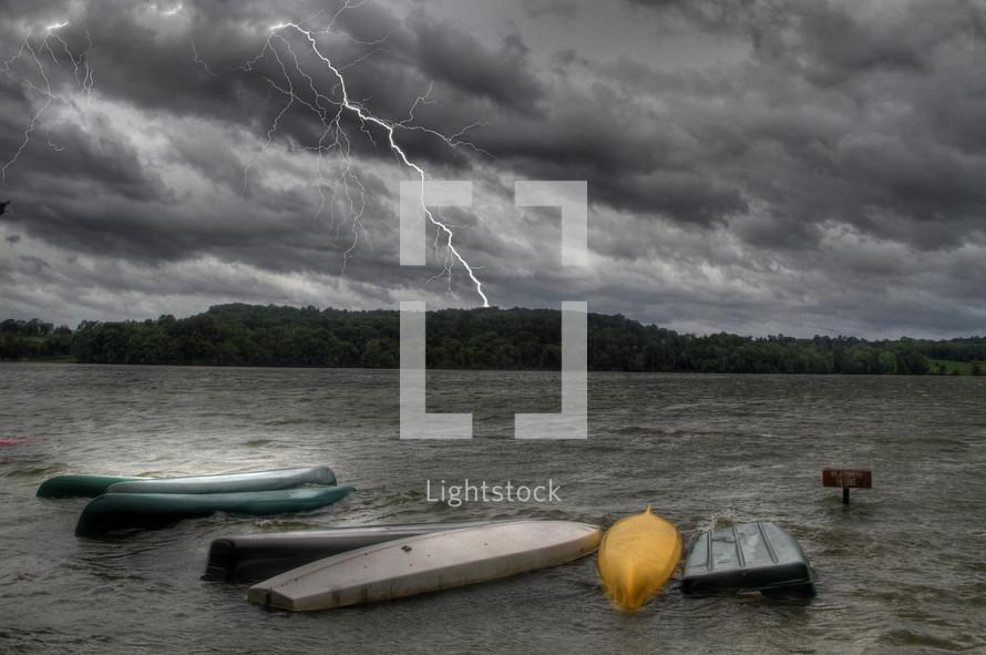lightning over a lake
