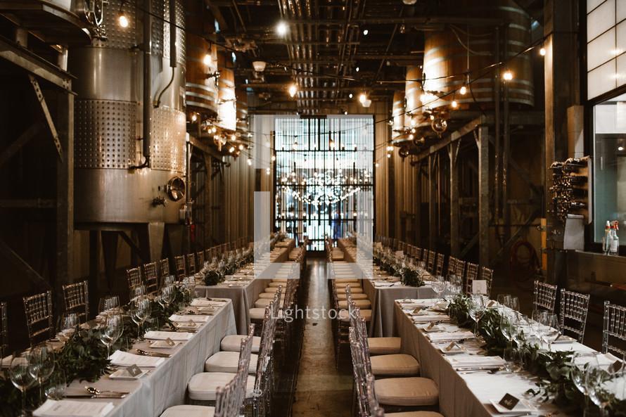 set tables at a wedding reception