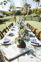 set table for an outdoor wedding