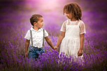 portrait of a brother and sister in a lavender field
