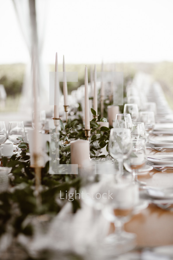 set table at a wedding reception