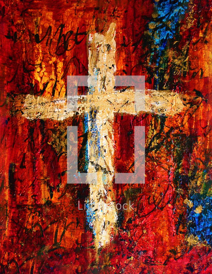 gold and cream cross painting on red and blue
