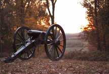antique cannon in fall