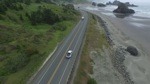 aerial view over a coastal highway