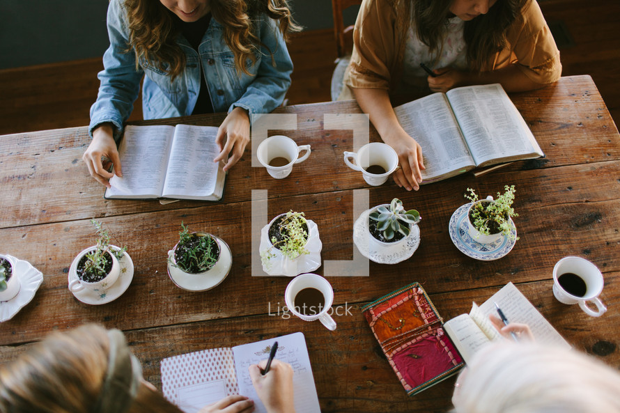 young women reading Bibles at a Bible study