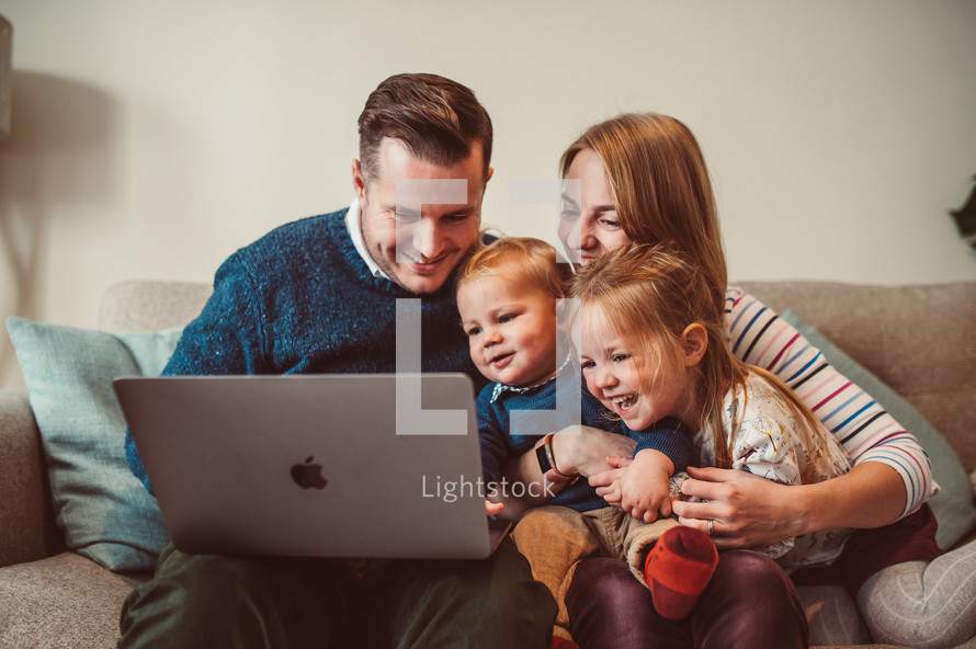 family watching an online worship service