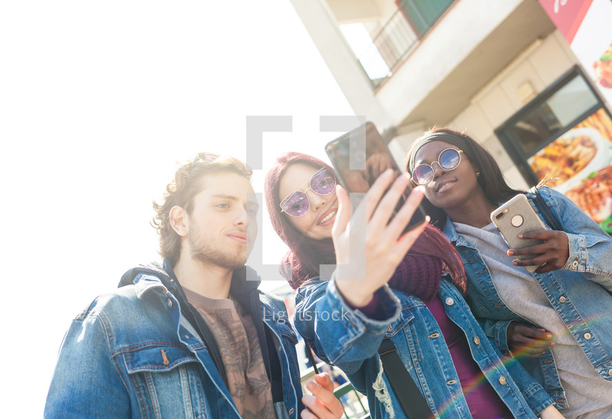 friends taking selfie outdoor