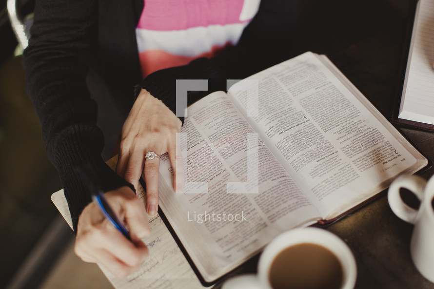 Woman studying Bible