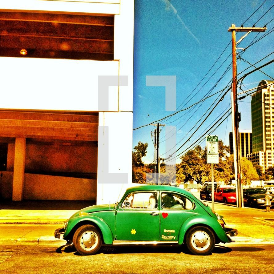 Old green volkswagen beetle