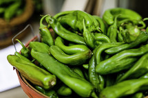 Green peppers in a basket
