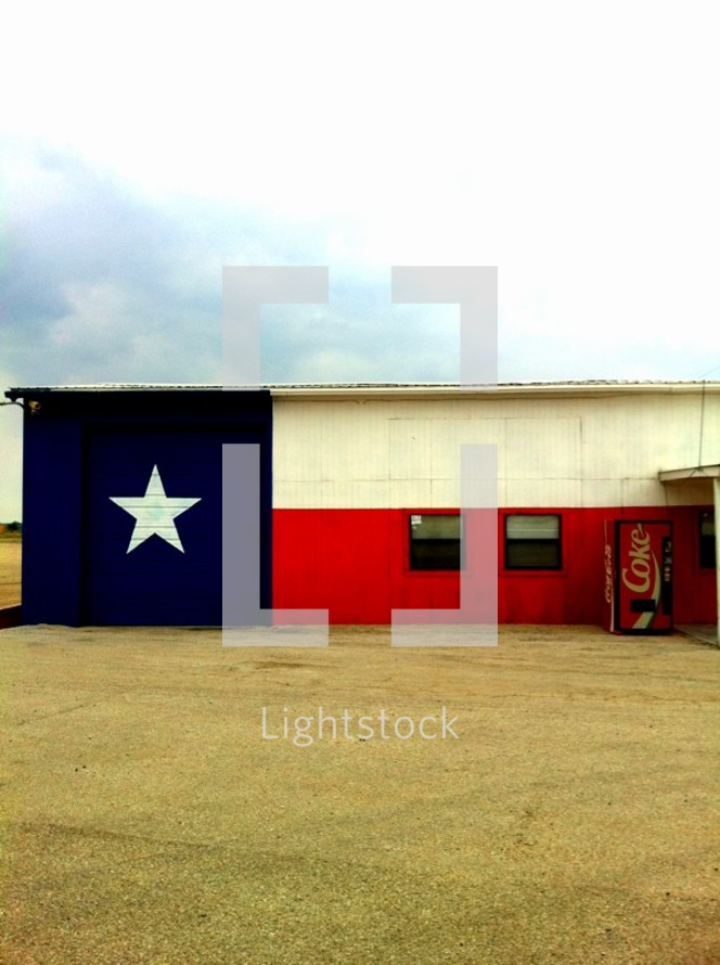 texas flag painted on a building