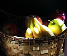 a fruit basket with sunlight